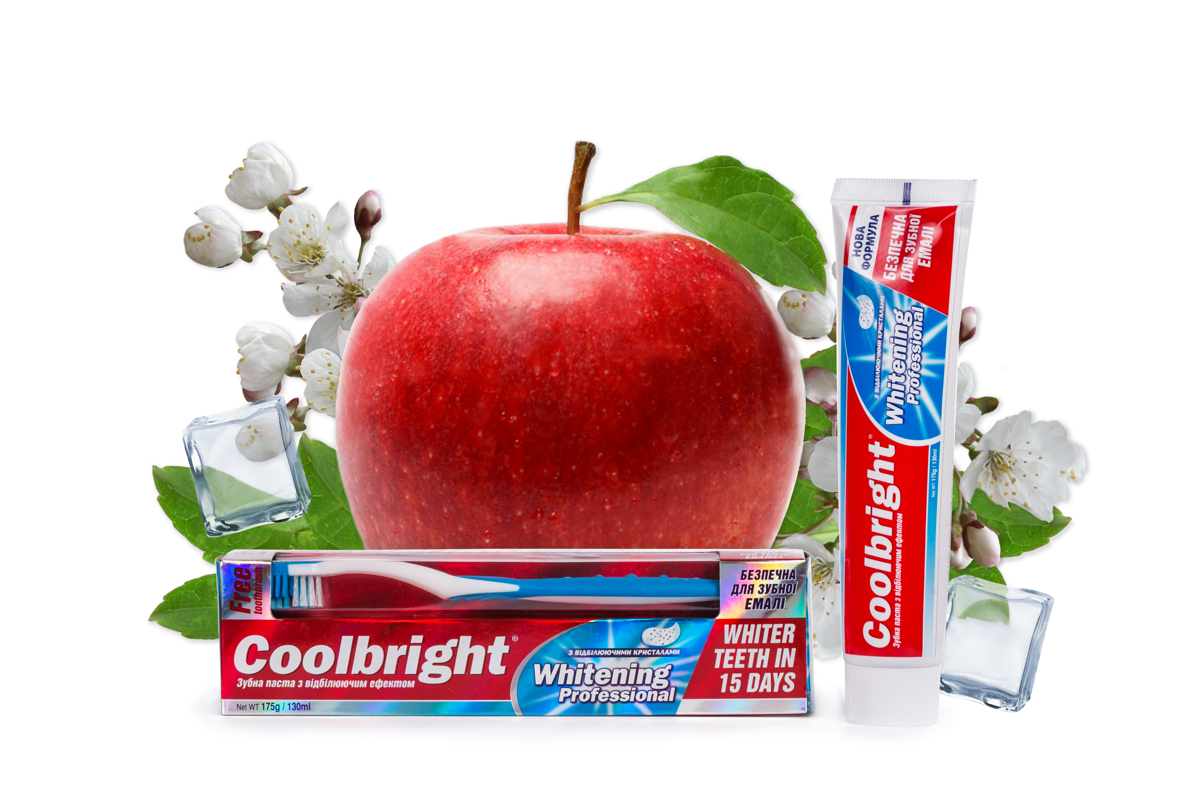 Coolbright Whitening Proffesional 175г/ 130 мл + Зубная щетка
